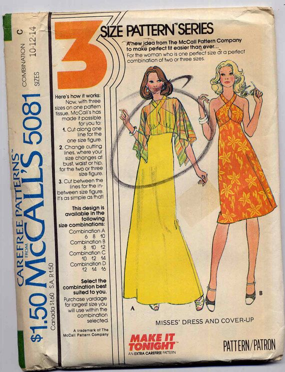 Vintage Disco Halter Dress Sewing Pattern McCalls 5081 Front Cross Straps Sheer Cover Up Bust 32.5 to 36. $6.95, via Etsy.