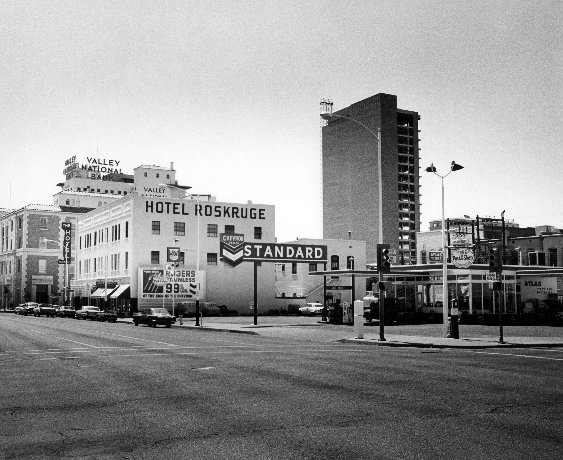 Chevron gas station and the original Federal Courthouse building