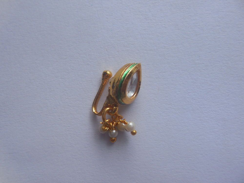 Nose Gold Plated Stud Clip Kundan Ring Fashion Jewelry Pear