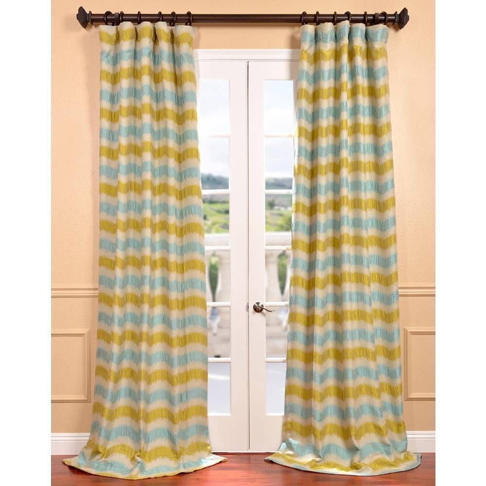 Exclusive Fabrics Espen Citron Faux Silk Jacquard Curtain Panel