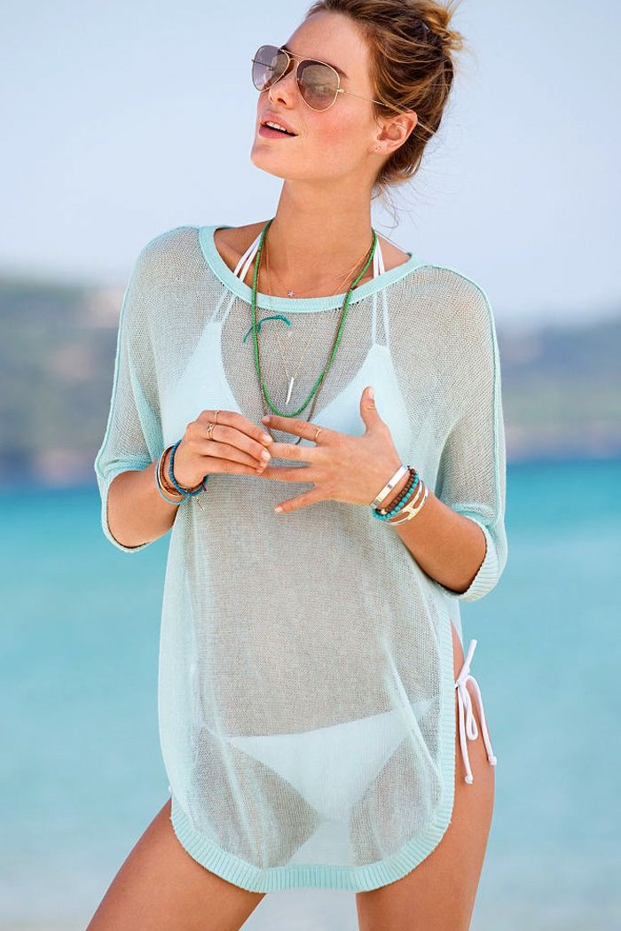 8c3f570a63 See-Through Solid Color Half Sleeve T-Shirt | Bathing suits | Beach ...