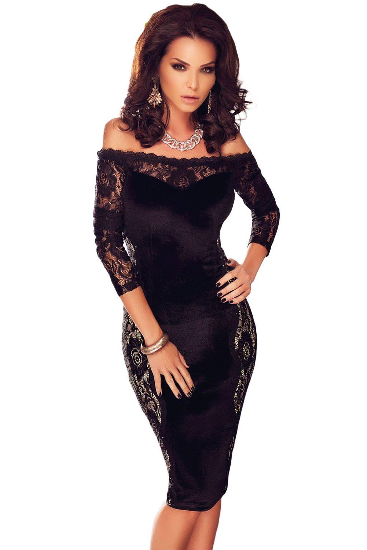 Black Quarter Sleeves Lace Off Shoulder Dress