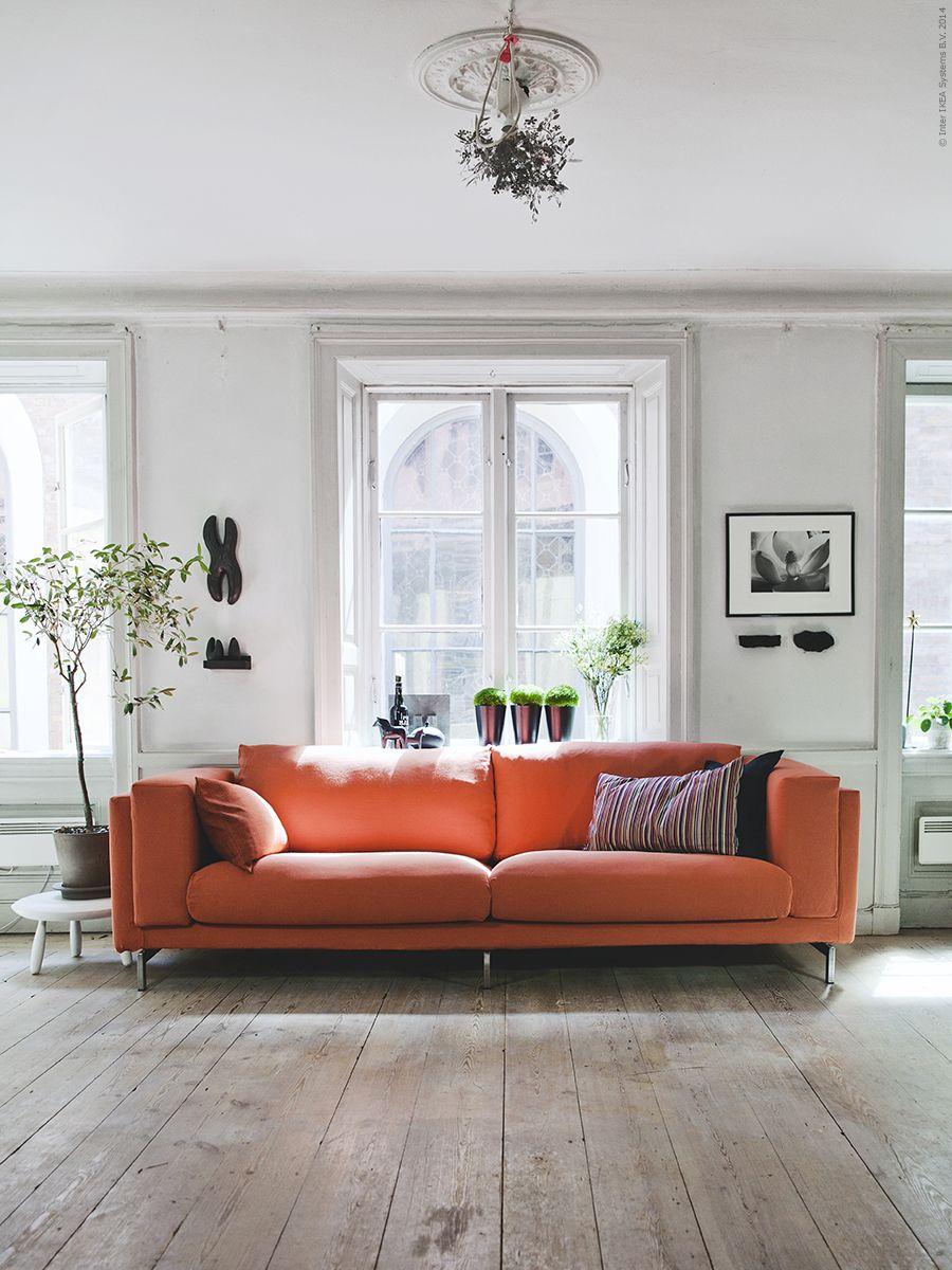 NOCKEBY 3-sitssoffa B252xD97xH66 cm, RISANE orange klädsel i lin och ...