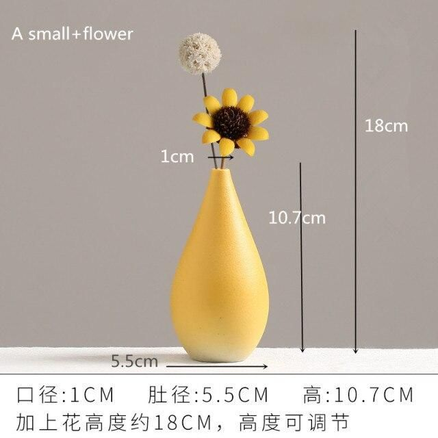 Photo of European Simple Ceramic vase yellow Porcelain vases small flower vase DIY Bottle wedding vases for table decorations home decor – A Small and flower