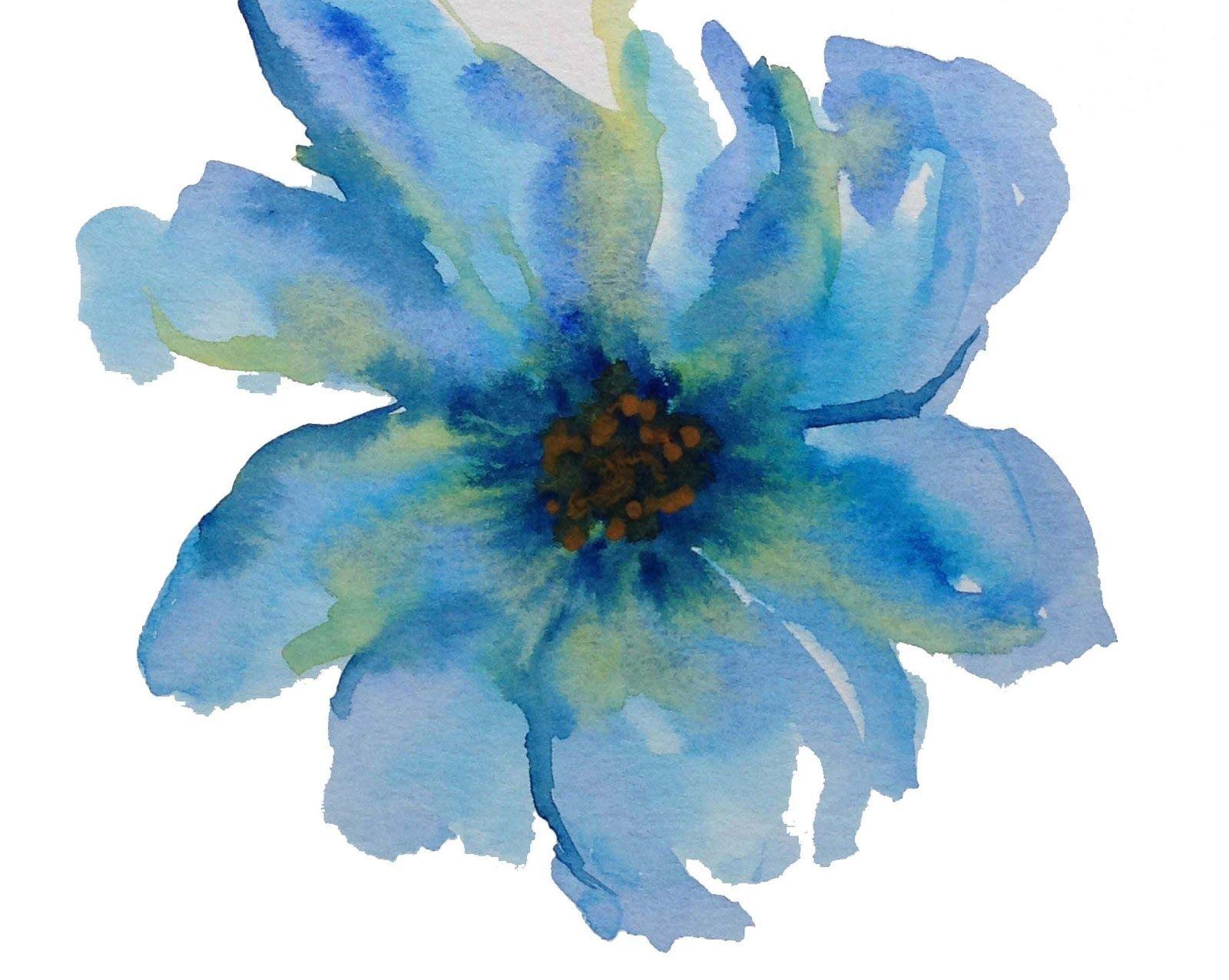 Blue Flower watercolor Pinturas, Acuarela, Flores