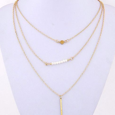 0.49€ - Gold Plated Hand 3 Layer Chain Bar Necklace Beads and Long Strip Pendant Necklaces - PrettyLike S Store