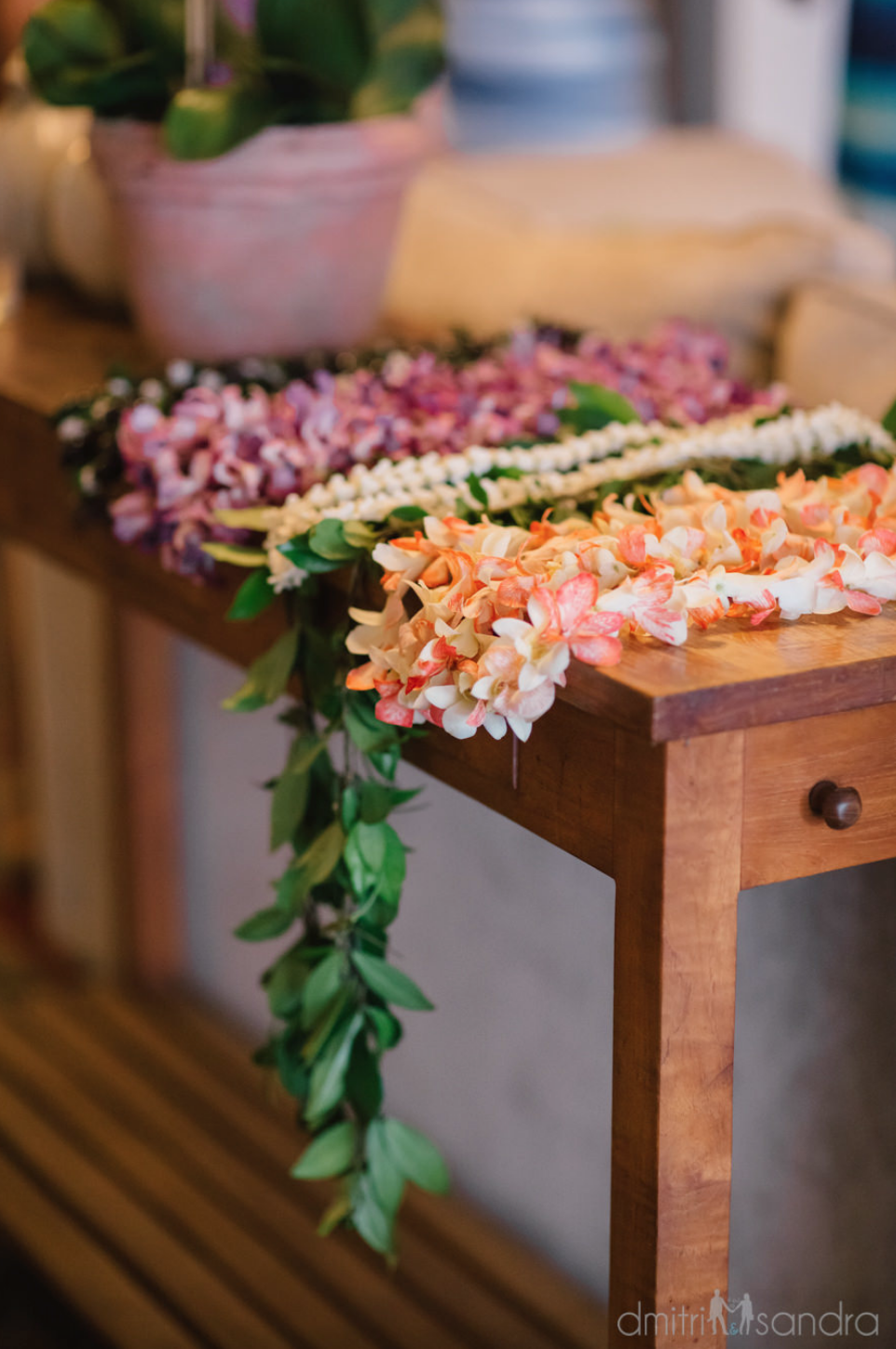 Wedding Lei Variety Including Orchid Kukui Nut Maile And Crown