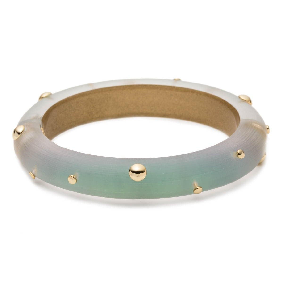 Alexis Bittar Green And Gold Studded Hinged Lucite Bracelet