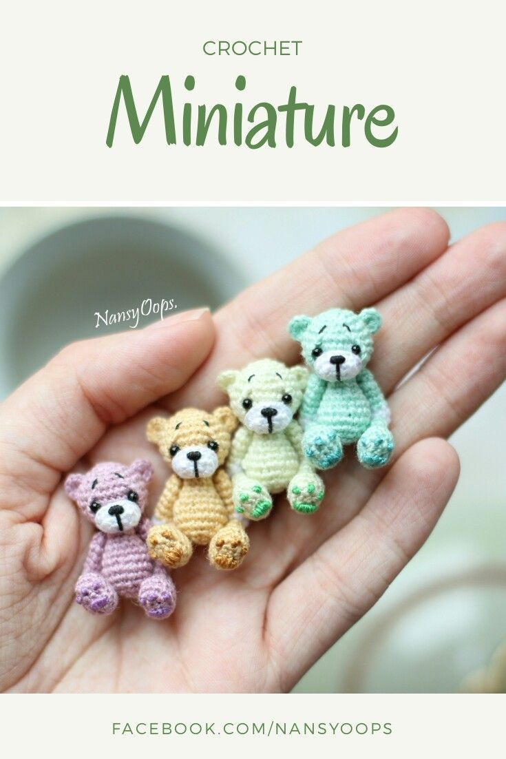 Crochet pattern crochet toy amigurumi miniatures little toys #crochetbearpatterns