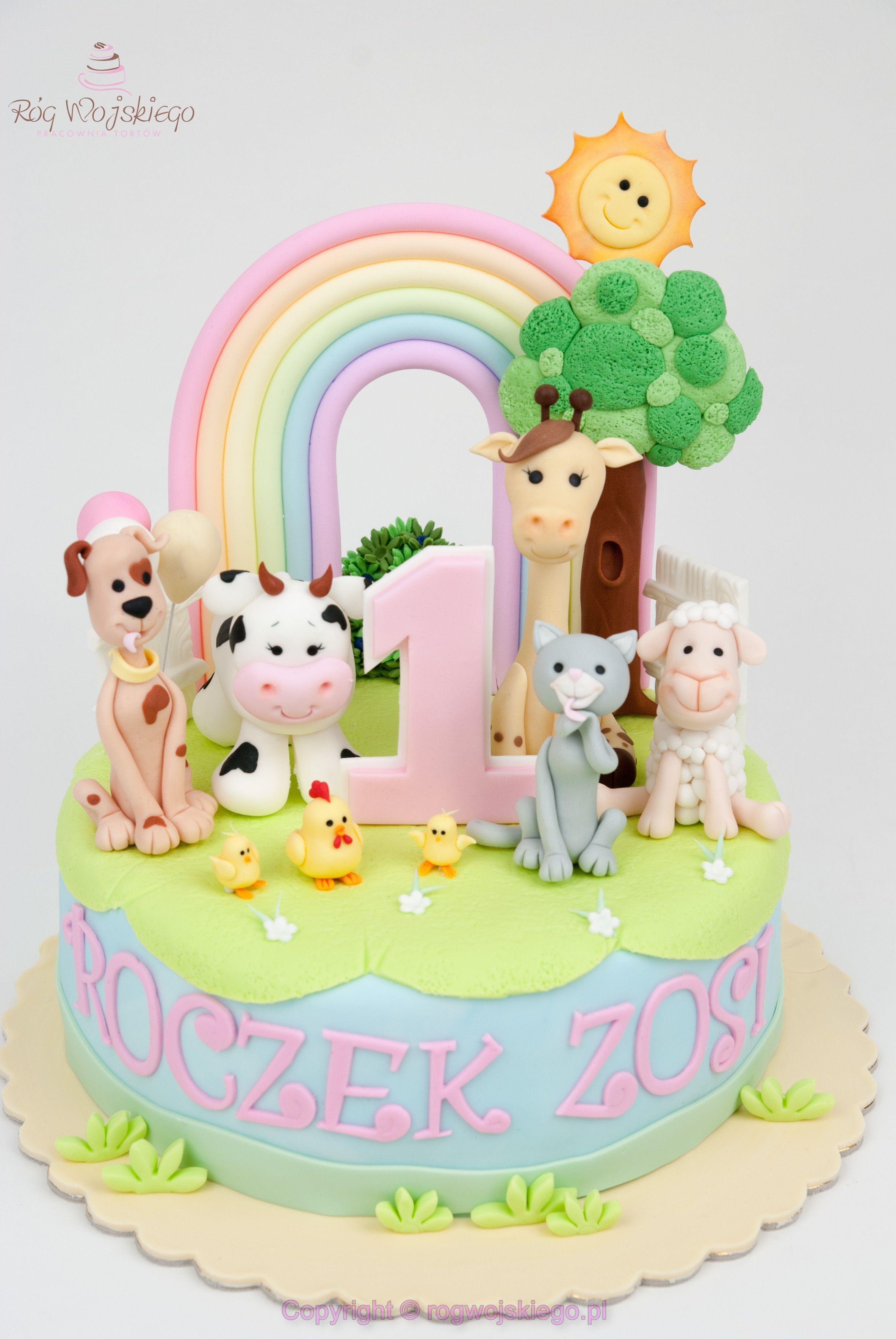 Tort Na Roczek Dla Dziewczynki Ze Zwierzątkami Gdańsk Cakes For