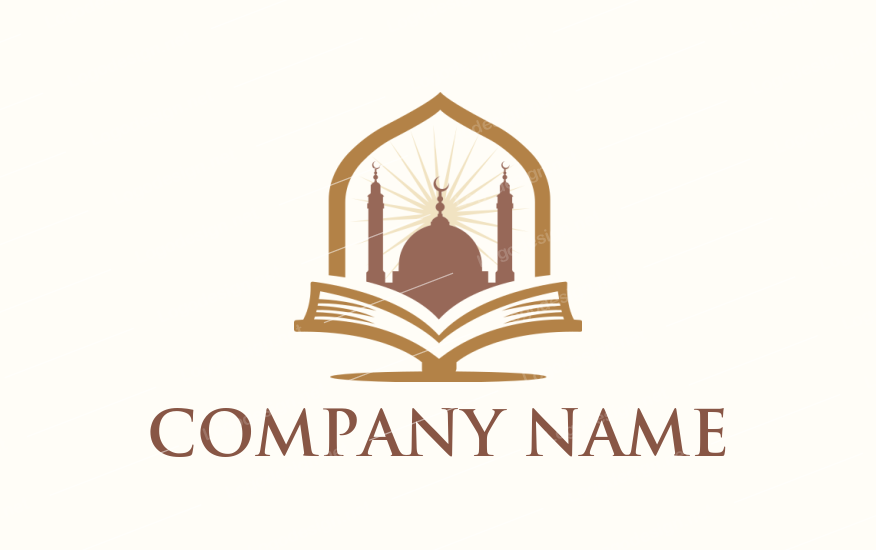 Buy This Muslim Mosque On A Open Book Now Or Make 100s Of Free Logos From Logodesign Net Book Logo Open Book Foundation Logo