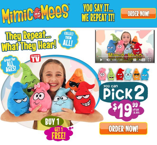 Mimic Mees are plush character toys that repeat what you say. Read our Mimic Mees review plus additional product information.