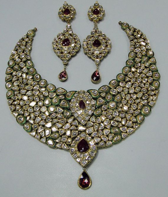 Vintage Estate 20 ct Gold Diamond kundan meena by Amrapali | Fashion Jewellery Antique | Rosamaria G Frangini