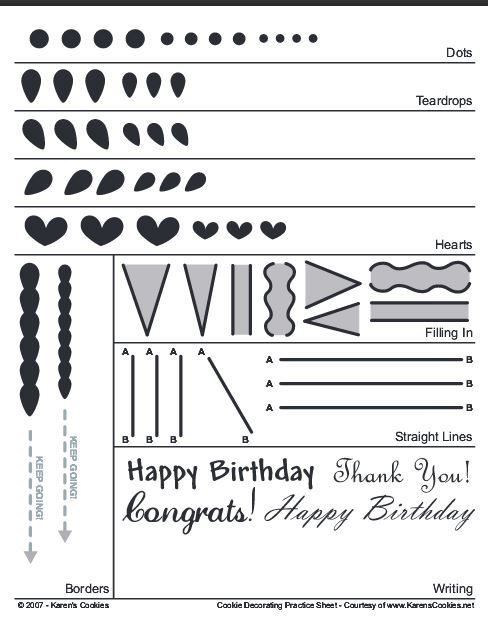 Practice Sheet From Karens Cookies A Few Companies Use Tips Piping Sheets In 2019 Royal Icing Transfers Templates