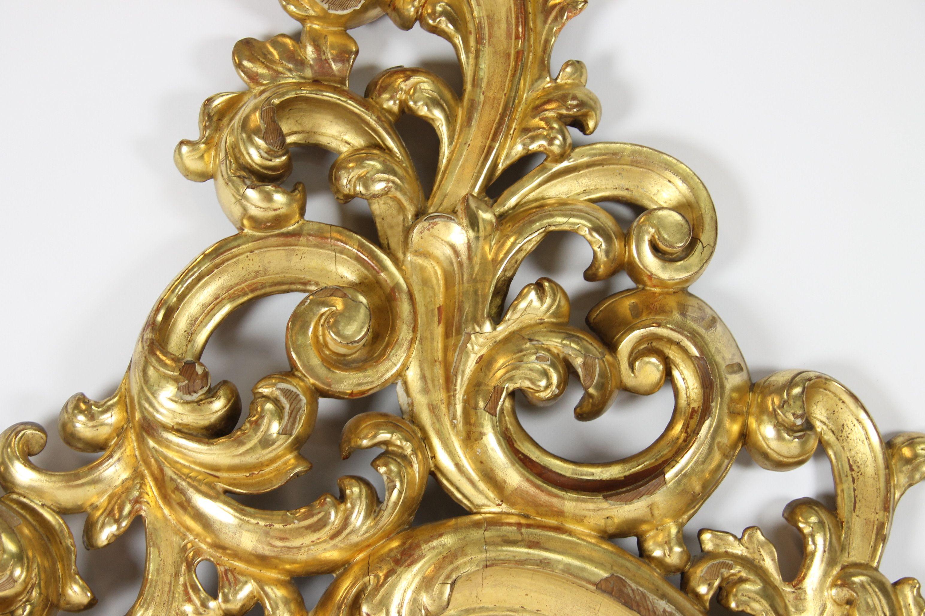 Espejo cornucopia estilo isabelino en madera dorada al pan - Pintura dorada para madera ...