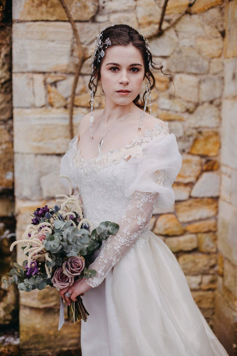 Labyrinth Fantasy Wedding Dress Ballgown With Removable Sleeves