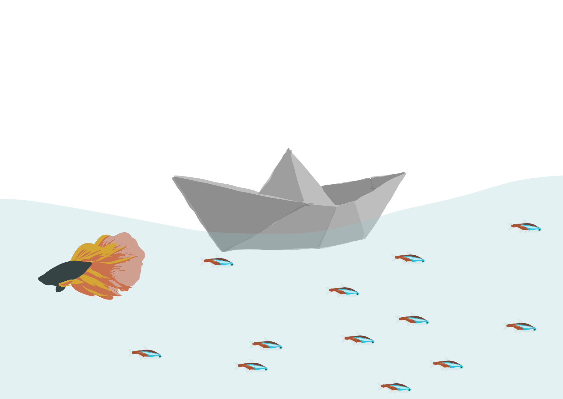 Paper Boat Floating Over A Beta And Tetras Made In Adobe Illustrator Paper Boat Boat Stickers Boat Illustration