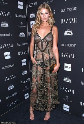 It Seems Model Tony Garrn 24 Opted To Leave Her Calvins At Home On Friday Evening When She Donned A Completely Sheer Dress Attend The Harper Bazaar
