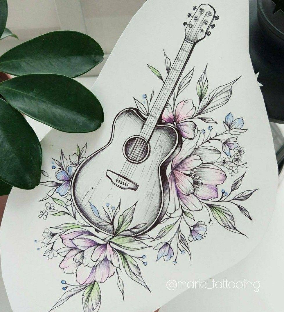 Guitar Tattoo Idea By Marie Su Line Art Tattoos Guitar Tattoo Body Art Tattoos