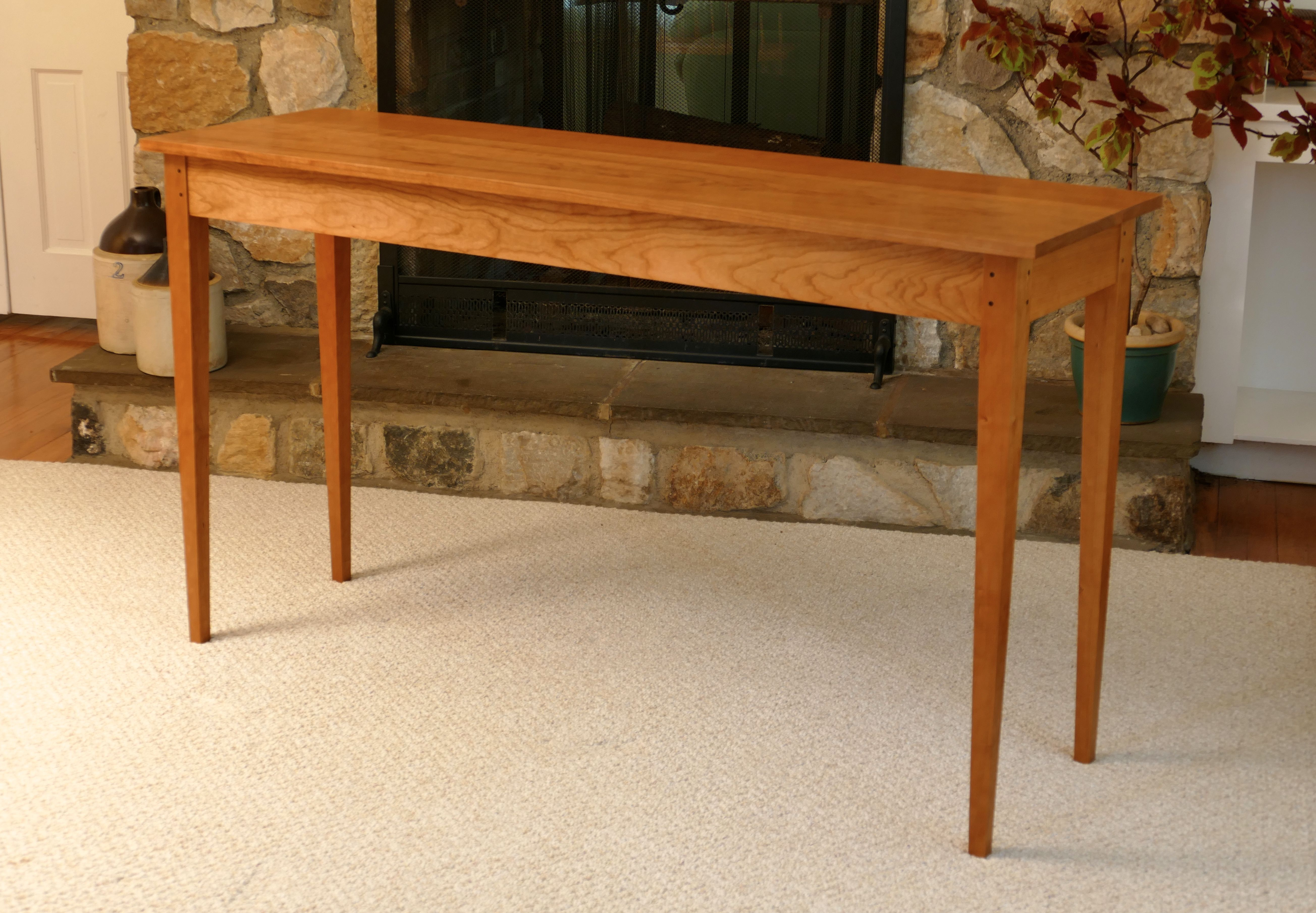 Shaker hall table made from pennsylvania cherry mortise and tenon joinery elegant tapered legs 60 l x 18 w x 34 h