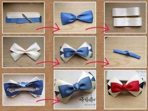 How to make pretty bow tie hair pin step by step DIY tutorial instructions , How to, how to do, diy instructions, crafts, do it yourself, di by Mary Smith fSesz