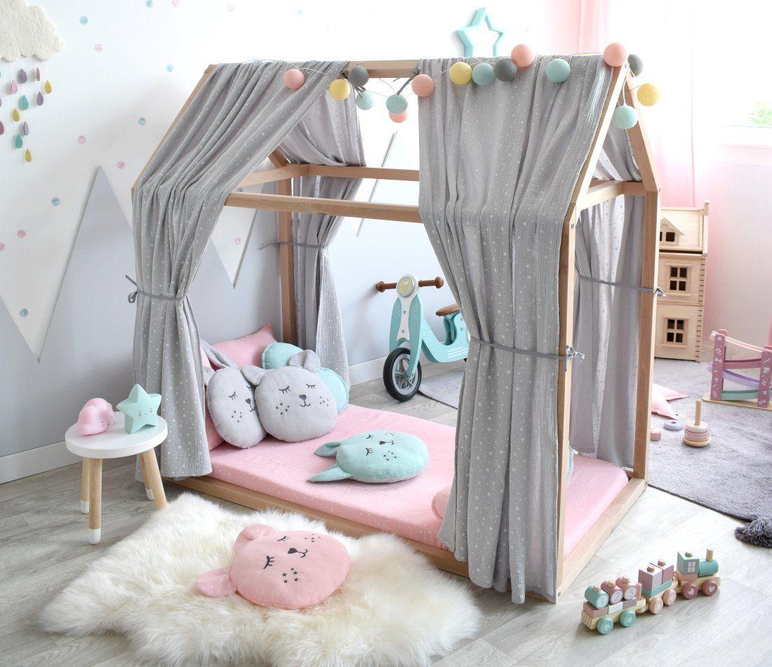 Hausbett-Spielzimmer in Grau, Rosa & Mint bei Fantasyroom ...