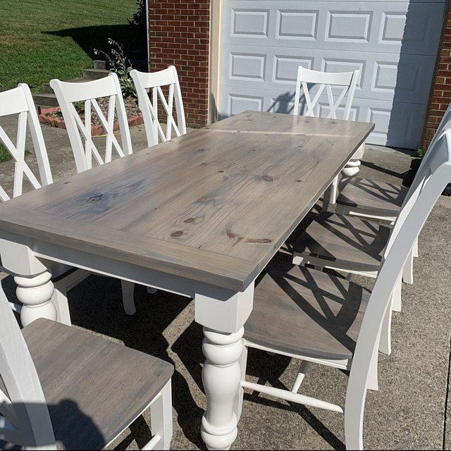 Unfinished Farmhouse Dining Table Legs Wood Legs Turned Legs Hardwood Chunky Wide Legs Large In 2020 Farmhouse Dining Room Table Diy Dining Room Table Painted Kitchen Tables