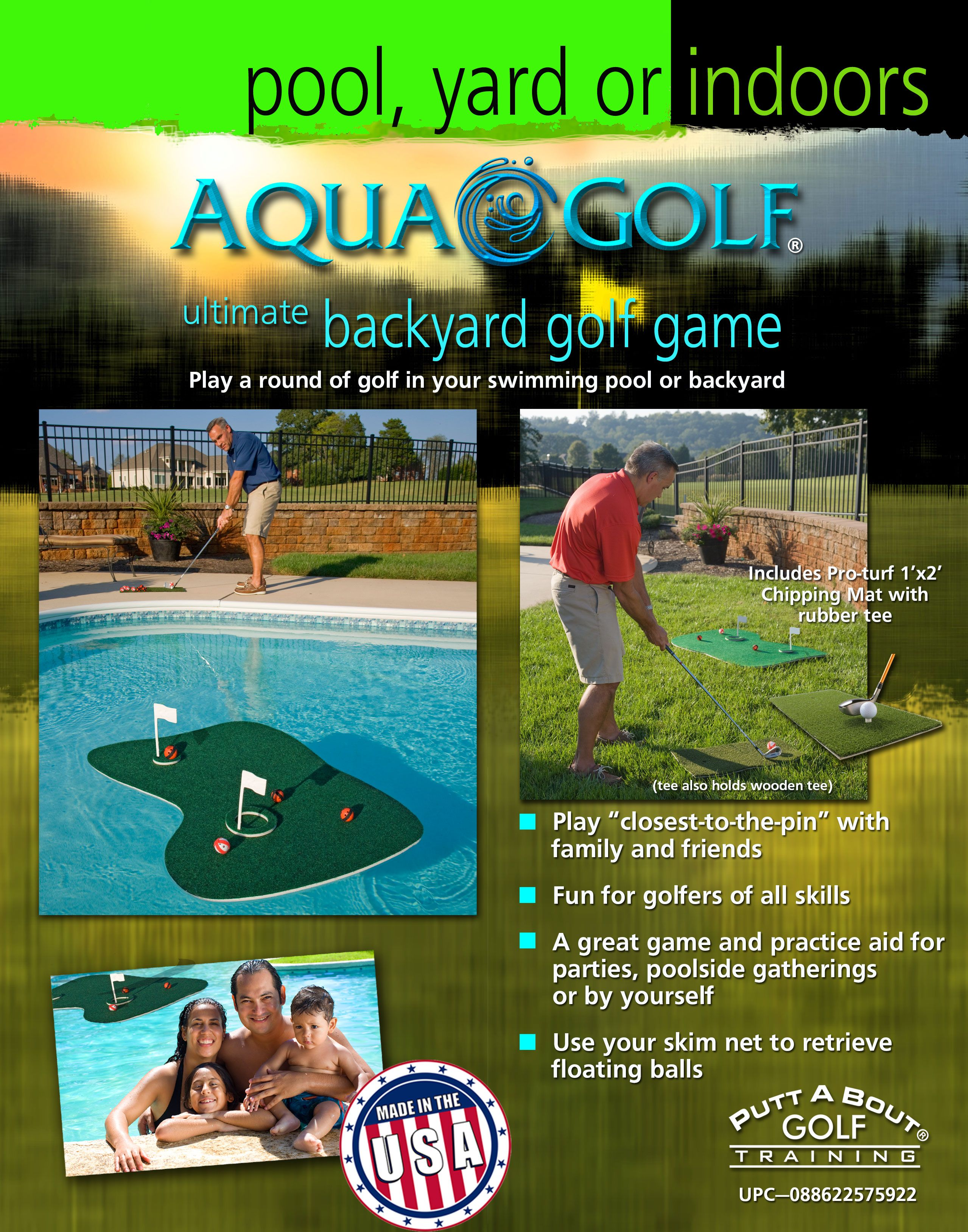aqua golf backyard and swimming pool game pool party ideas