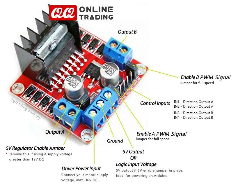 Dual Channel Motor Driver Module L298n H Bridge Up To 2 Amp 5