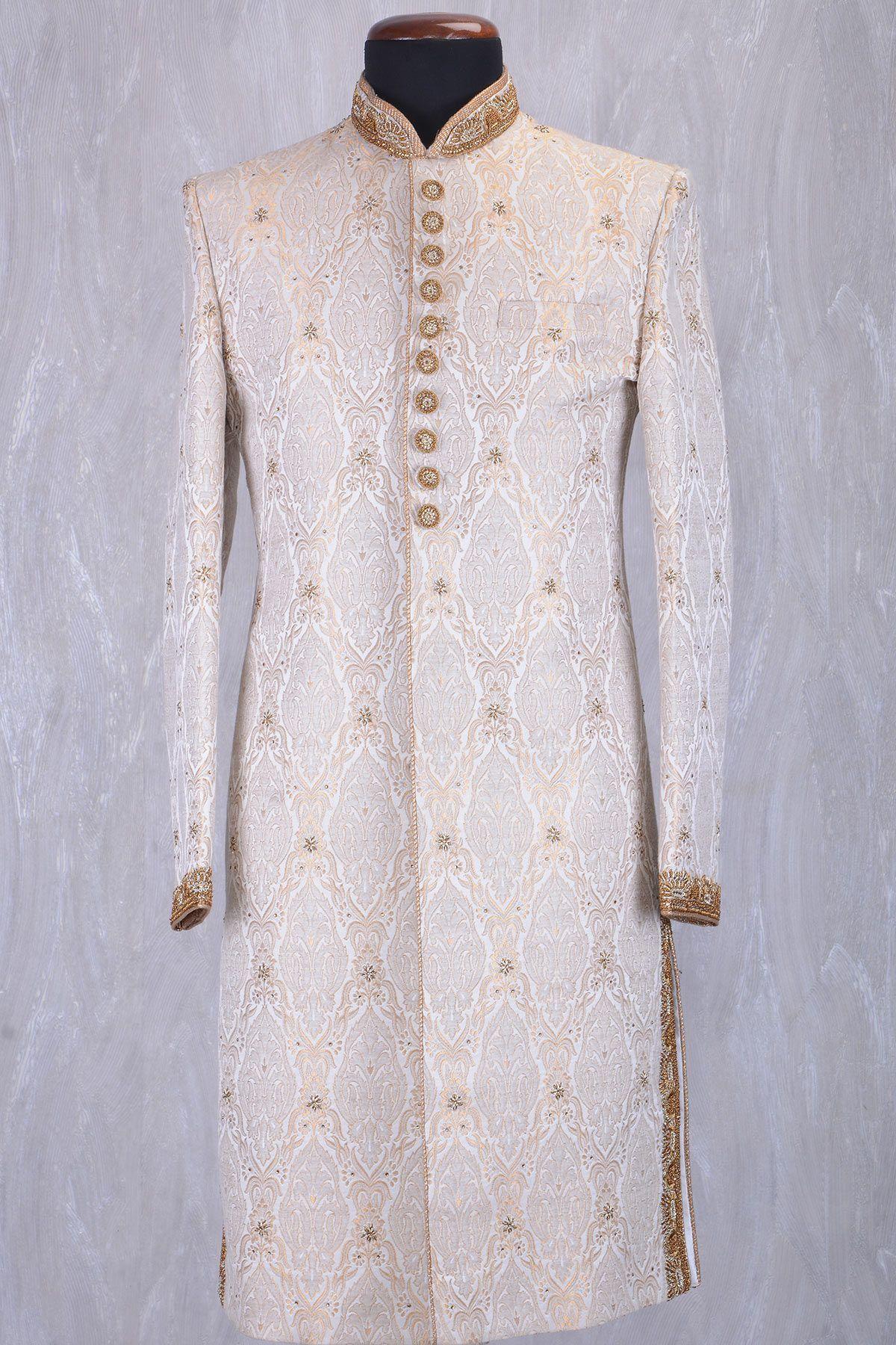 85c0d7a461 Off White & Gold Brocade Zardosi Embroidered Wedding Sherwani-SH397