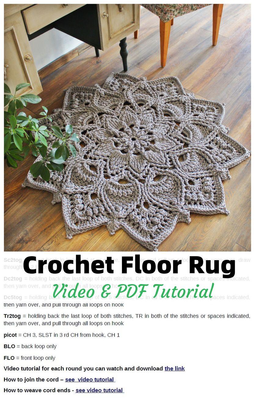 Crochet Floor Rug Video Pdf Tutorials See All Carpet Patterns In 2020 Crochet Rug Patterns Crochet Rug Patterns Free Crochet Rug