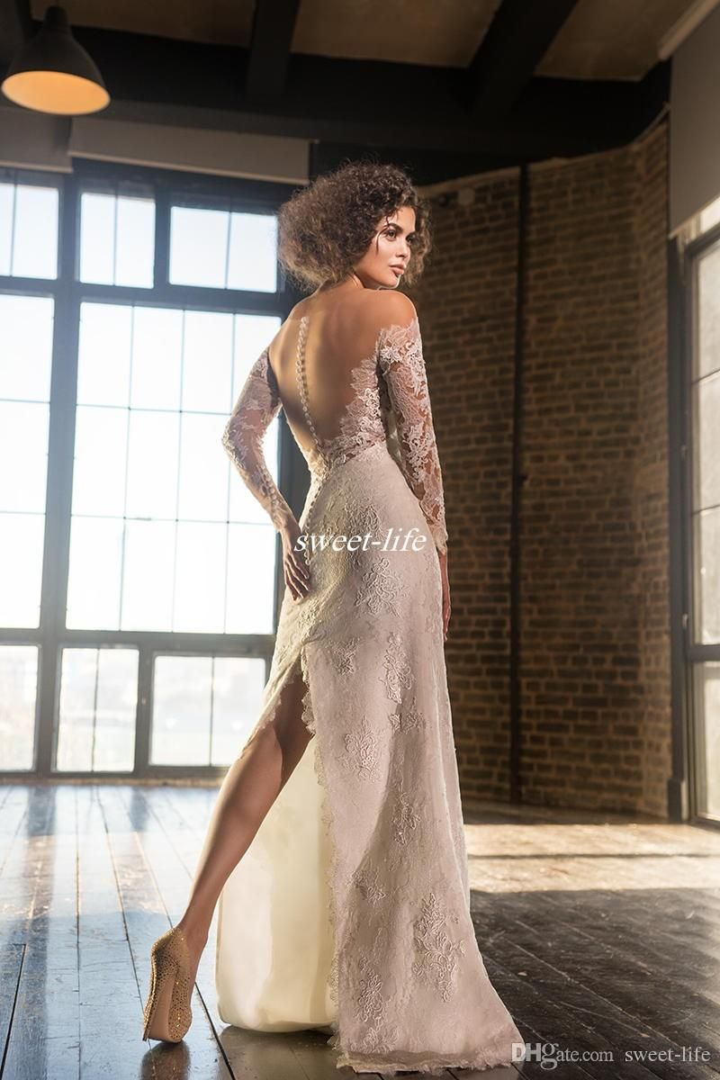 New fall winter full lace wedding dresses with detachable train
