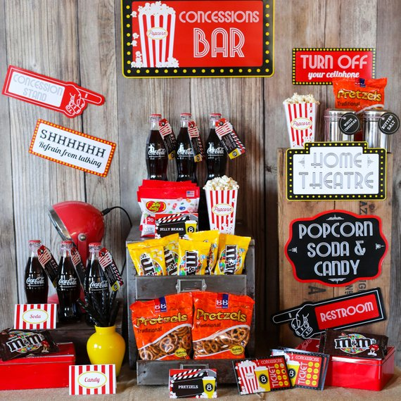 Photo of Movie Night Party Concession Stand | Movie Night Candy and Soda Store – Instant Download and Edit