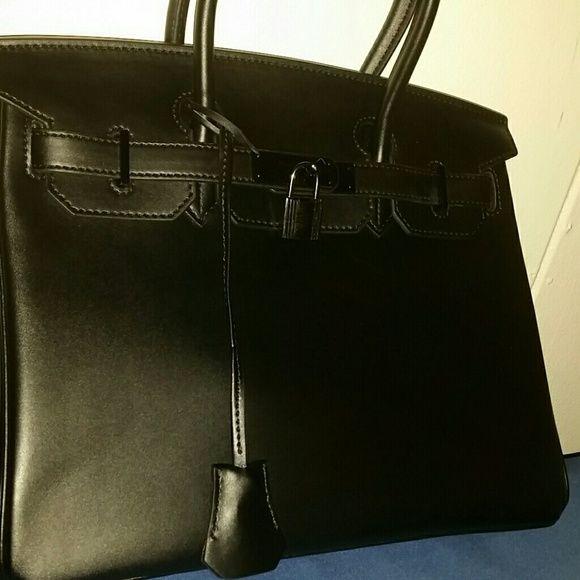 My new addition to handbag collection Black handbag with gunmetal hardware Bags Totes