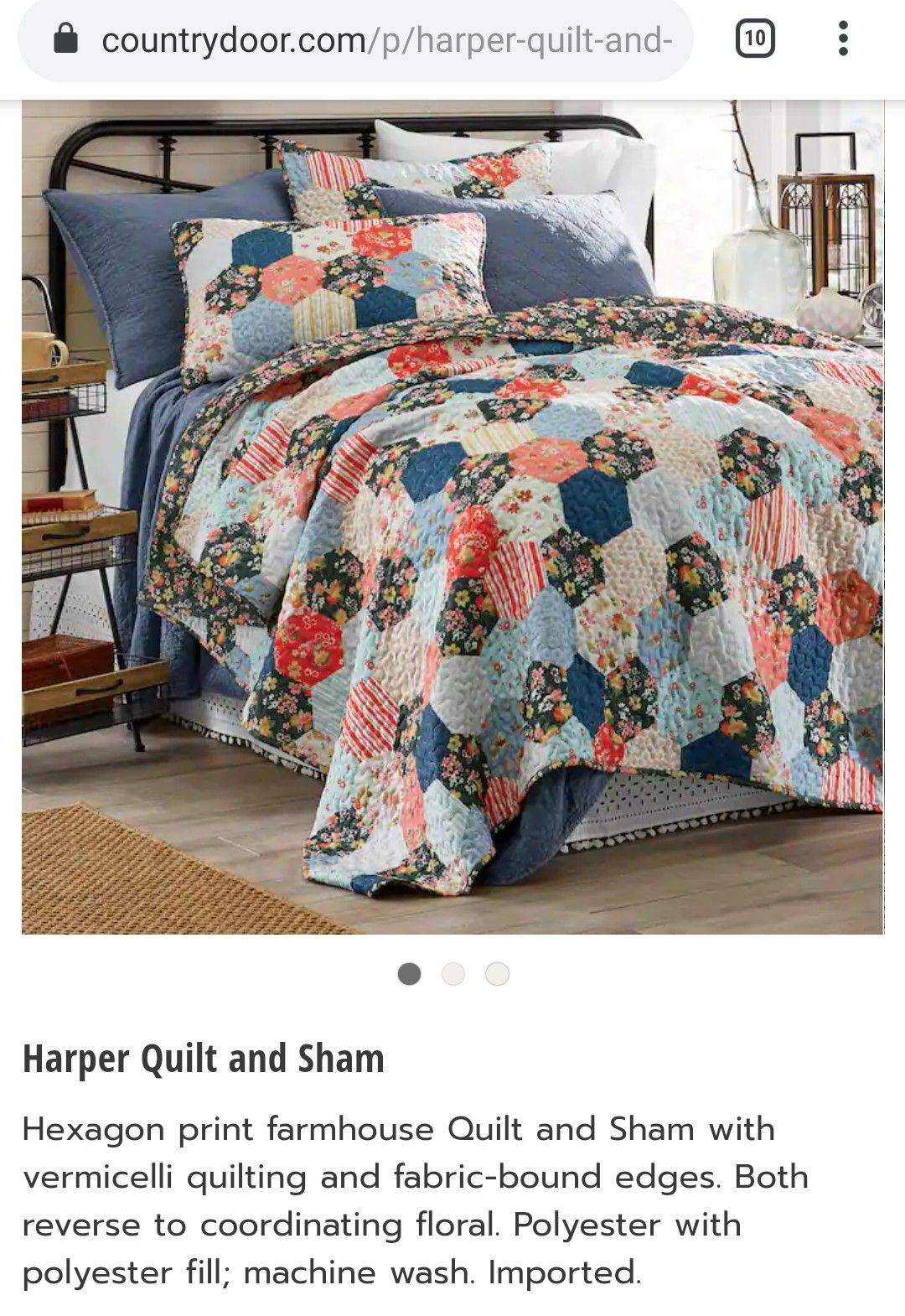 Red denim blue harper quilt rustic country Textured