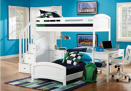 Cottage Colors White Twin Twin Step Loft Bedroom W Desk