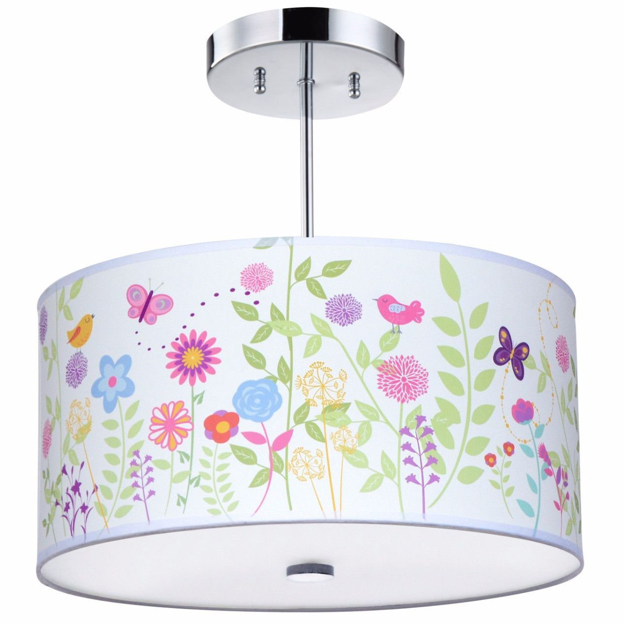 Flowers Birs Light Fixture Drum Lightingkids