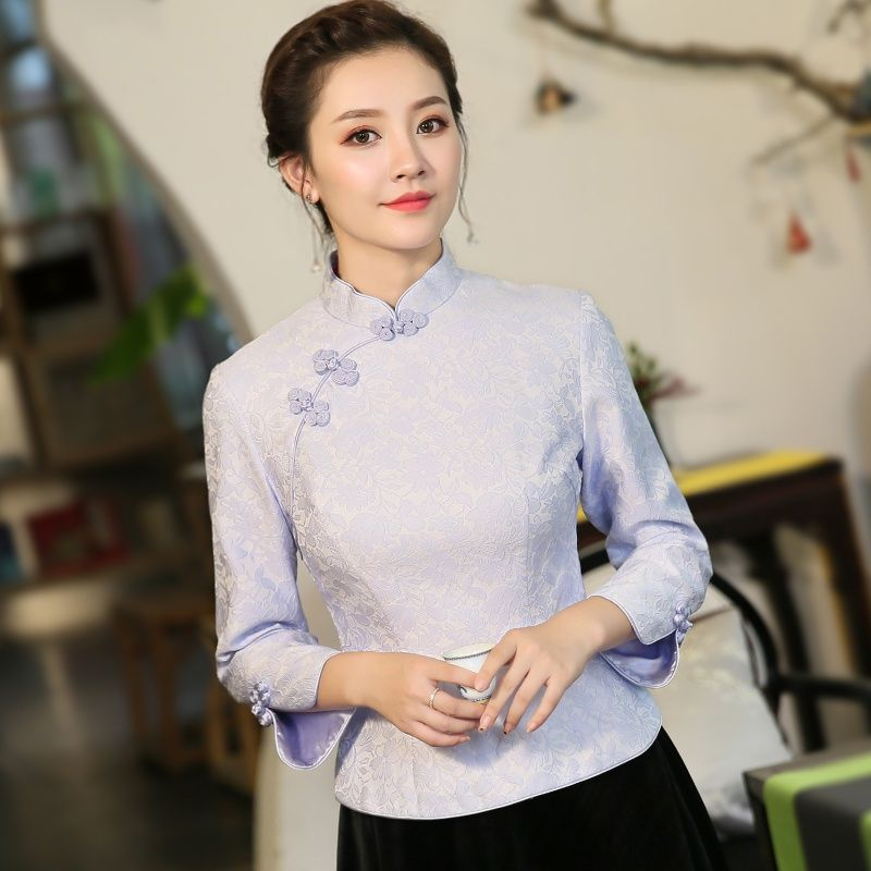 225ab17cb2 Excellent Jacquard Chinese Cheongsam Qipao Shirt - Chinese Shirts & Blouses  - Women
