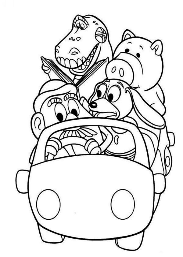 Toy Story, : Woddy's Gang Riding a Car in Toy Story