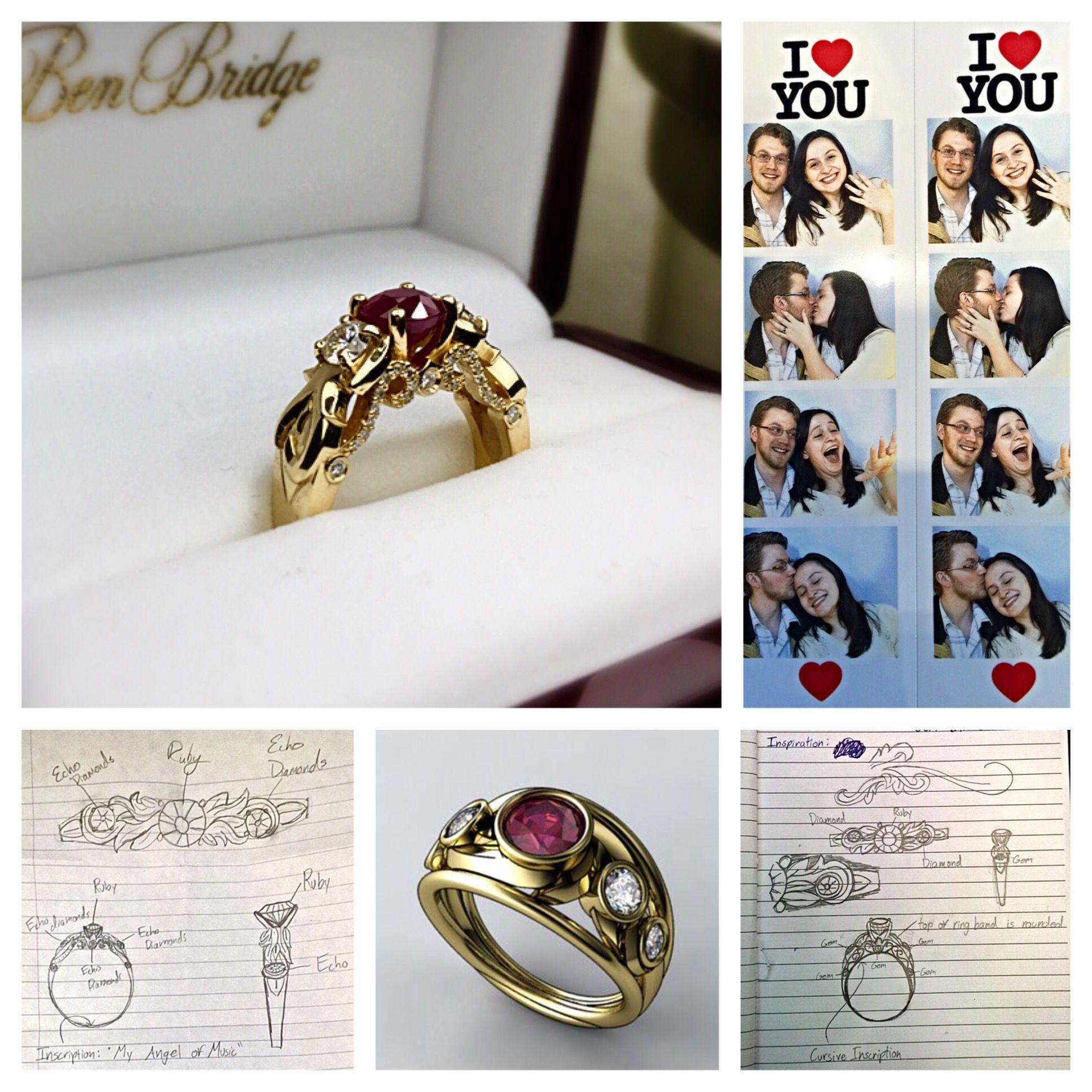 Love Never Dies/phantom of the opera inspired custom engagement ring ...