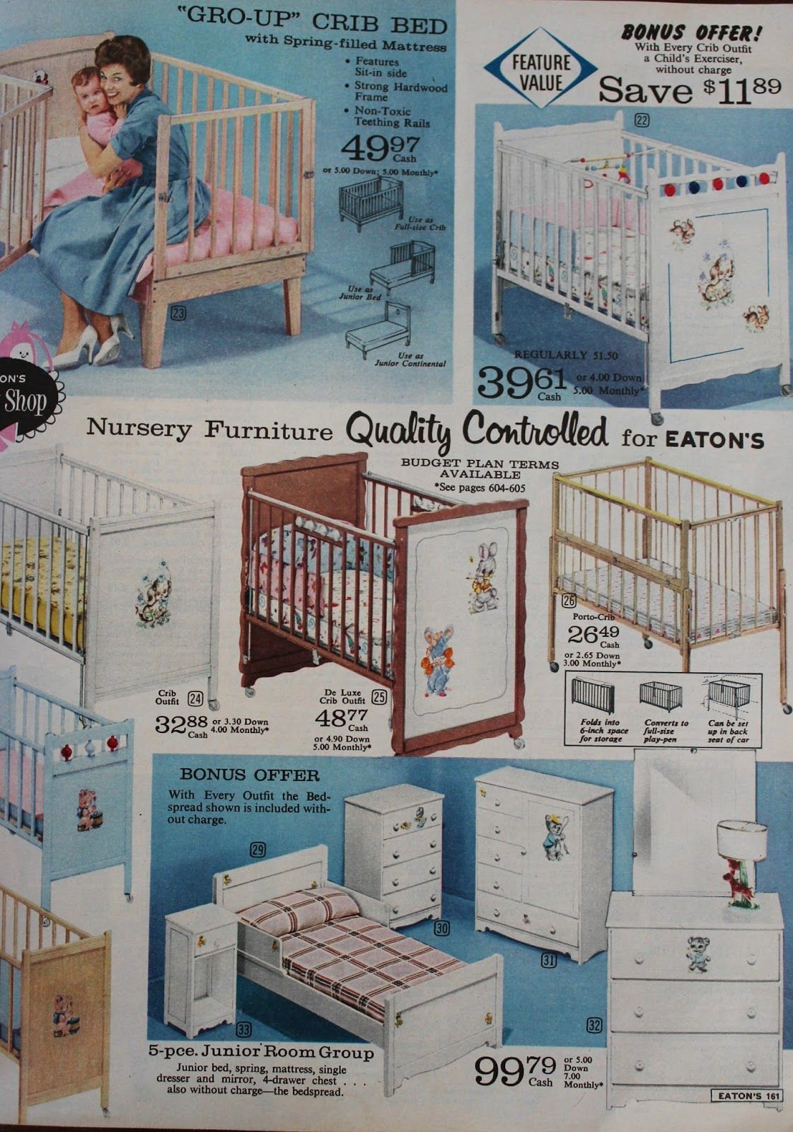 A Little Bit Of Everything Oh Baby Eaton S Catalogue 1961 Vintage Baby Gear Vintage Baby Cribs Vintage Baby Nursery Sears baby bedroom set