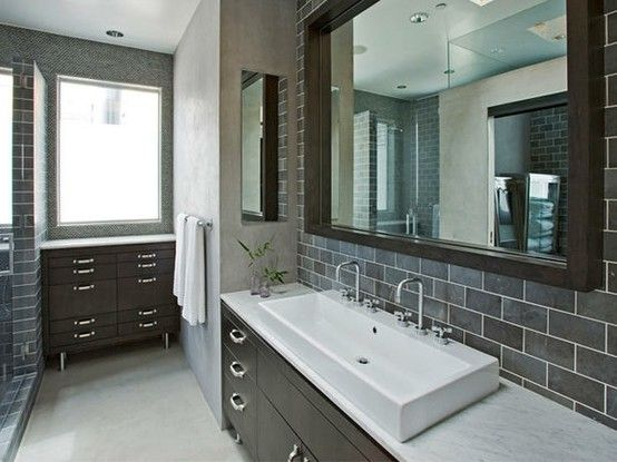 Bathroom Gray Subway Tile brown cabinets & grey subway tilegigi643 | back splash