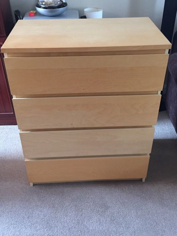 Ikea Malm 4 Draw Chest Of Draws On Gumtree Ikea Malm Large Four Draw Chest Of Draws Wood Veneer Finish Just Over A Year Old No Chips Or Mark