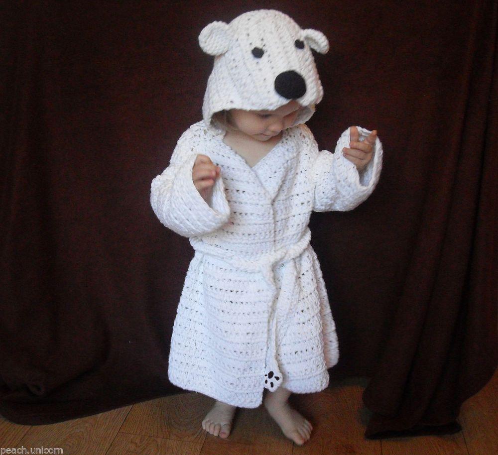 Polar Bear Kid\'s Bathrobe Dressing Gown Crochet PATTERN by Peach ...
