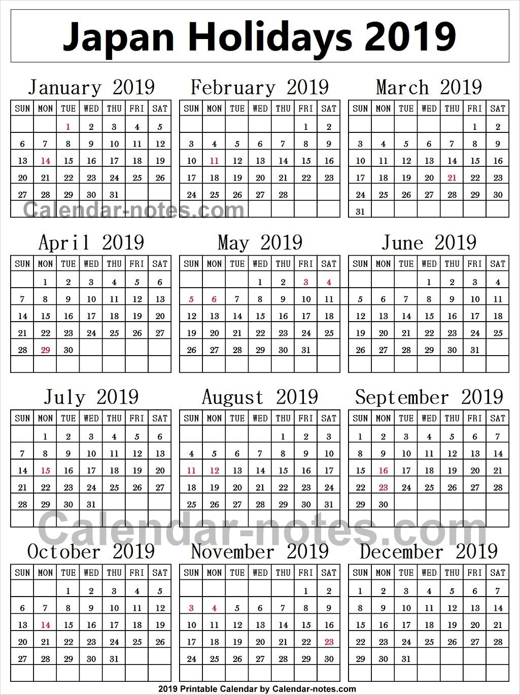 Japan Holiday 2019 Calendar Japao