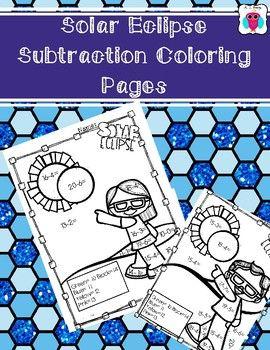 Solar Eclipse Subtraction Coloring Pages