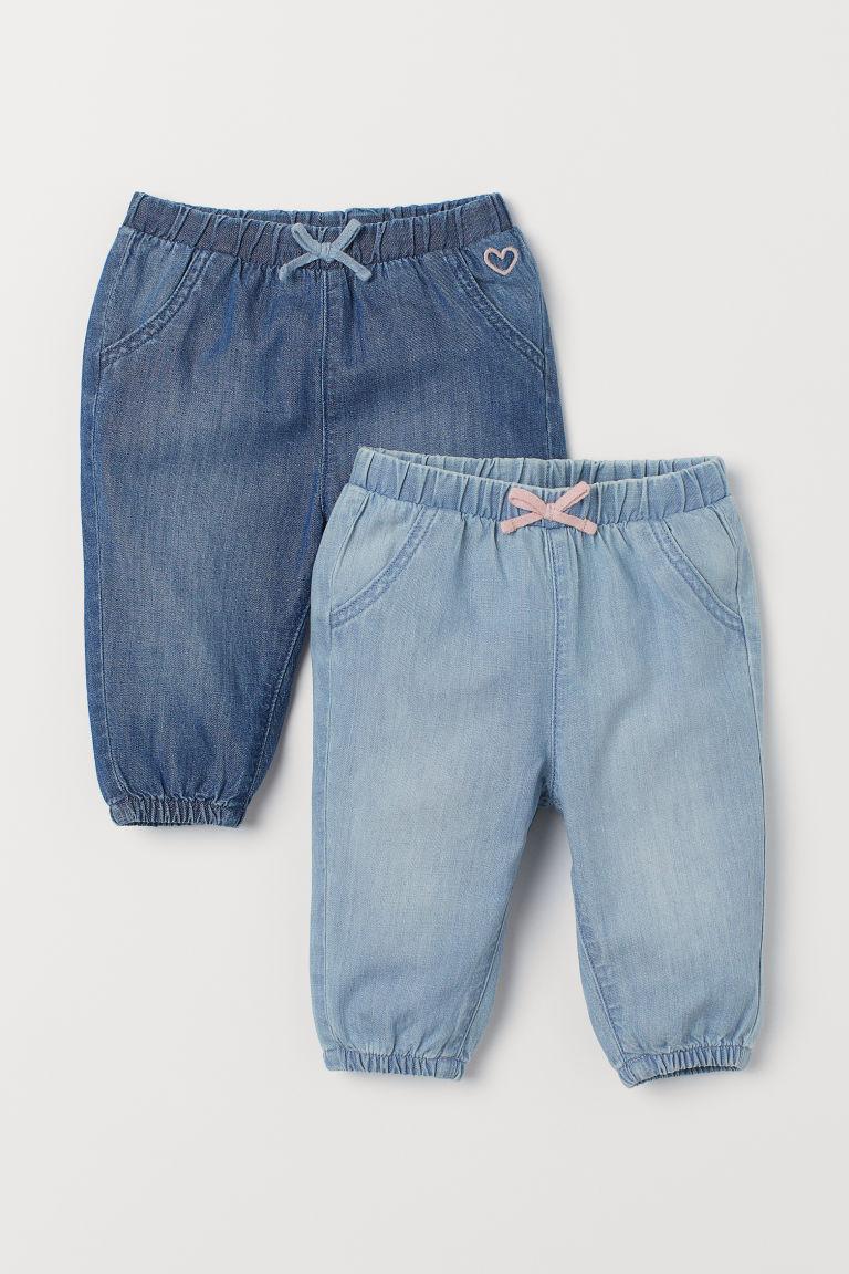 2 Pack Cotton Pull On Pants Denim Blue Light Denim Blue Kids H M Us Ropa De Bebe Unisex Ropa Para Bebe Varones Pantalones Para Ninos