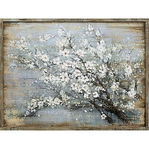 Cherry Blossoms Wood Wall Art In Blue Cherry Blossom Painting Cherry Blossom Wall Art Wall Art