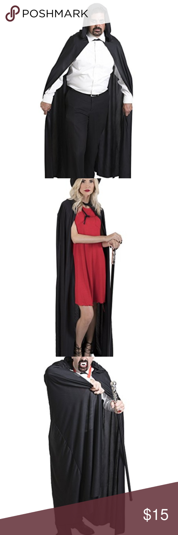 Adult halloween long black hooded cape one size nwt long black