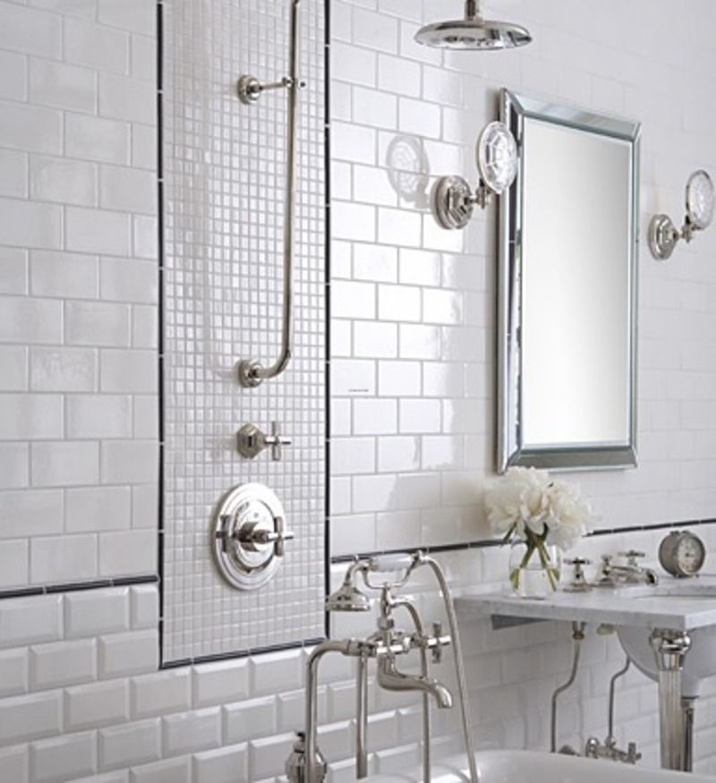 Too Much Of A Good Thing I Like The Small Square Ones Though Traditional Bathroom Tile White Tile Bathroom Walls Modern Bathroom Tile